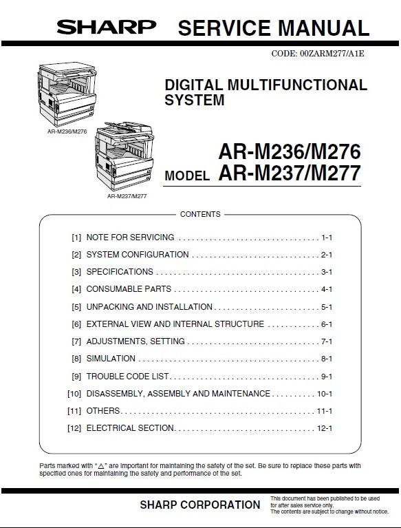سرویس منوال شارپ AR-M236_M276_M237_M277