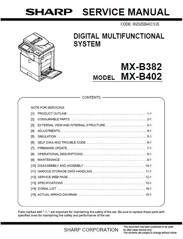 سرویس منوال شارپ mx-b382_mx-b402