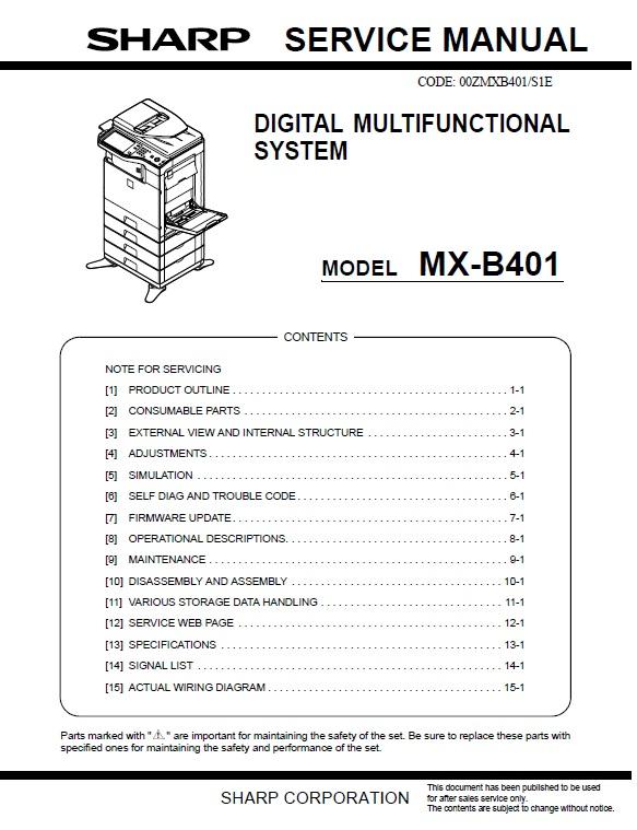 سرویس منوال شارپ mx-b401