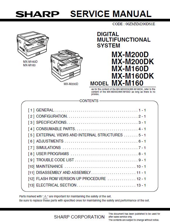 سرویس منوال شارپ MX-M160-200DK
