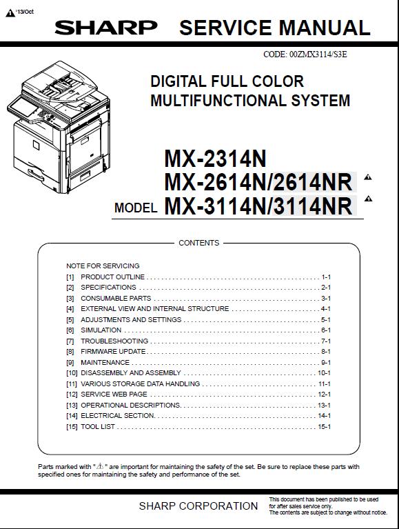 سرویس منوال شارپ MX-2314N_2614N_3114N
