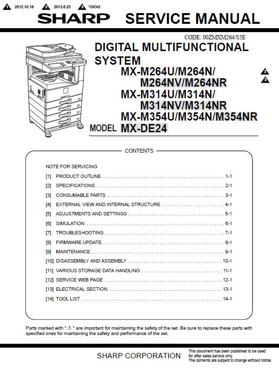 سرویس منوال شارپ MX-M264-314-354_DE24